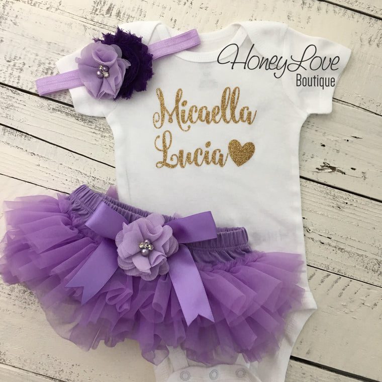PERSONALIZED Name Outfit - Gold Glitter and Lavender Purple - embellished bloomers - HoneyLoveBoutique