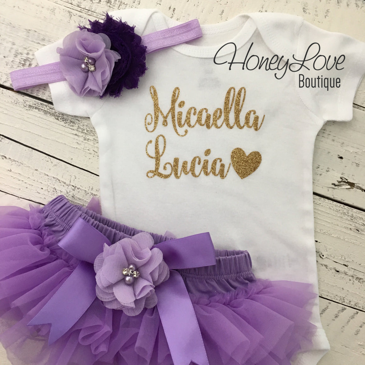 PERSONALIZED Name Outfit - Gold Glitter and Lavender Purple - embellished bloomers