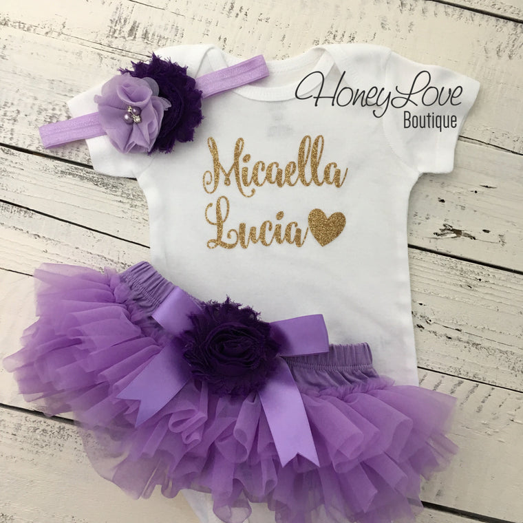 PERSONALIZED Name Outfit - Gold Glitter and Lavender/Grape Purple - embellished bloomers - HoneyLoveBoutique