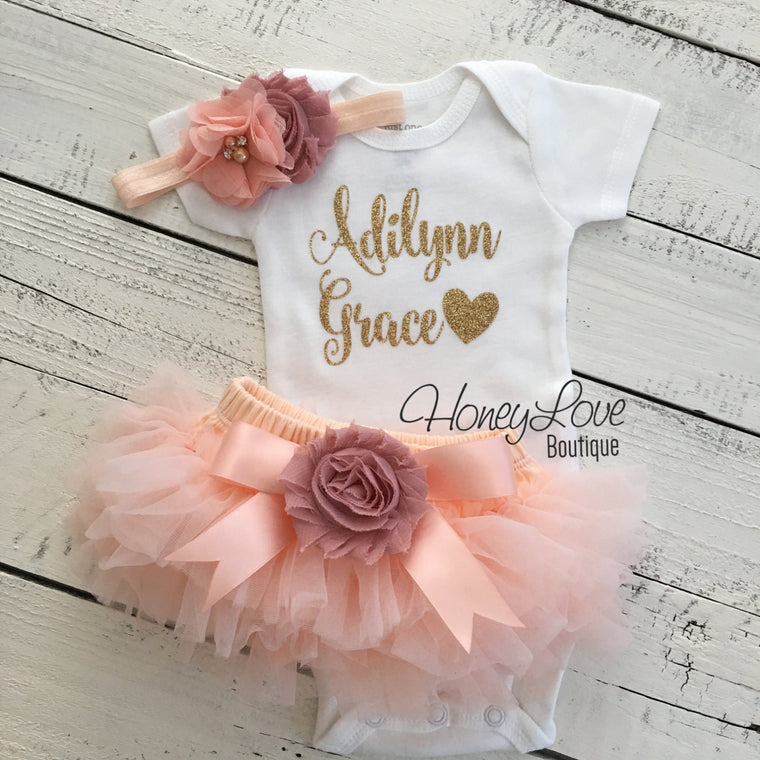 PERSONALIZED Name Outfit - Gold glitter and Peach/Vintage Pink - embellished tutu skirt bloomers - HoneyLoveBoutique