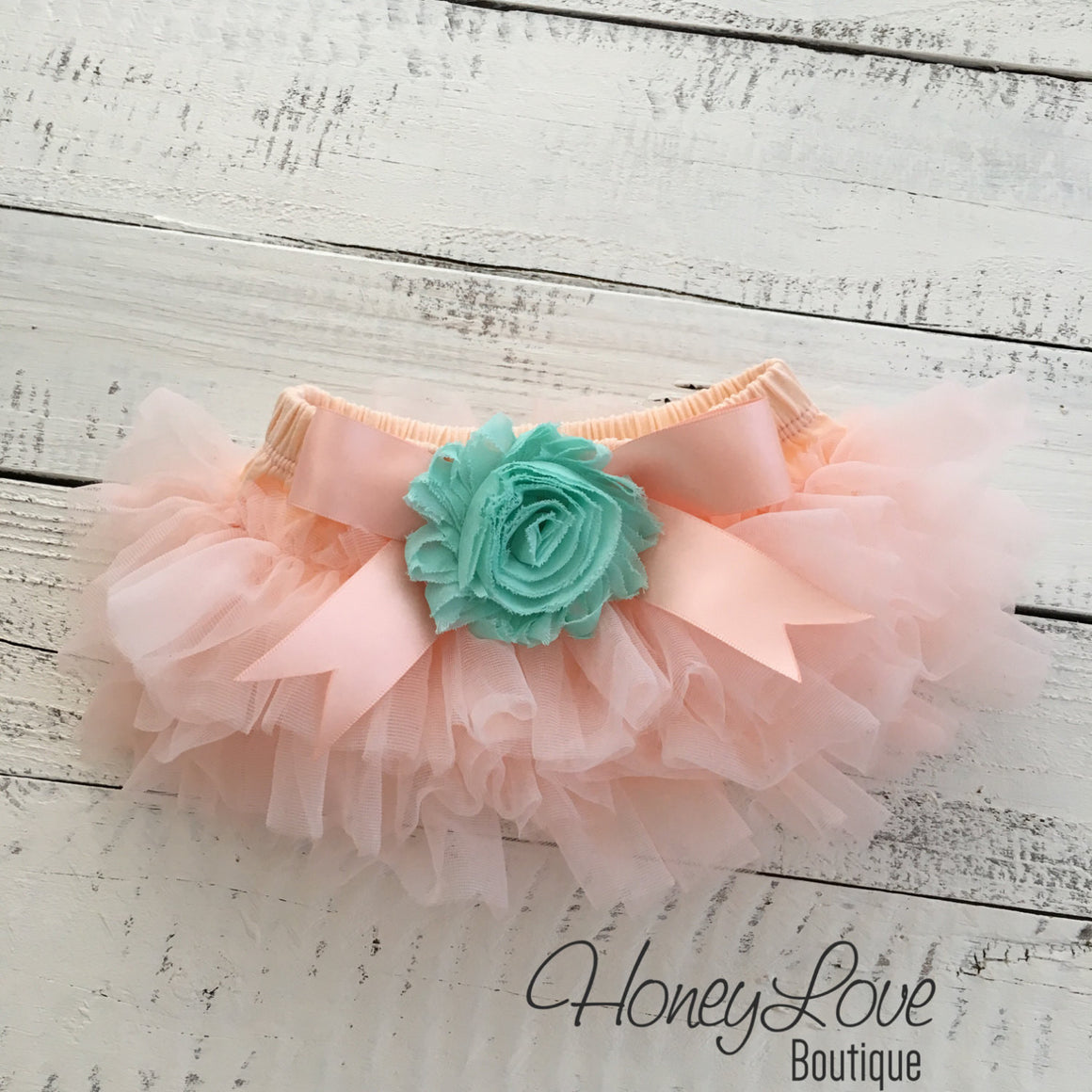 Peach and Mint/Aqua tutu skirt bloomers - Embellished bloomers