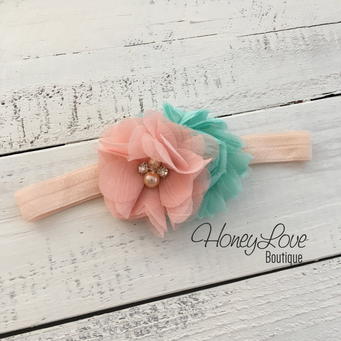 Peach and Mint/Aqua shabby chiffon flower rhinestone/pearl headband - HoneyLoveBoutique