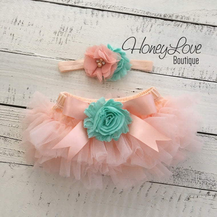 Peach and Mint/Aqua tutu skirt bloomers and headband - Embellished bloomers - HoneyLoveBoutique