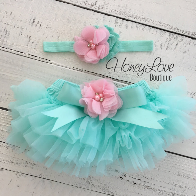 Mint/Aqua and Light Pink Embellished tutu skirt bloomers and headband