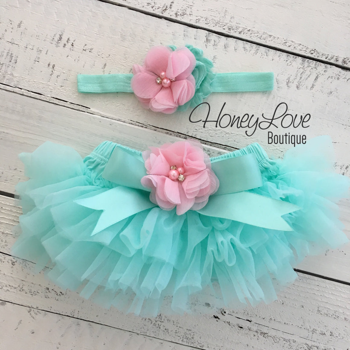 Mint/Aqua and Light Pink Embellished tutu skirt bloomers and headband - HoneyLoveBoutique