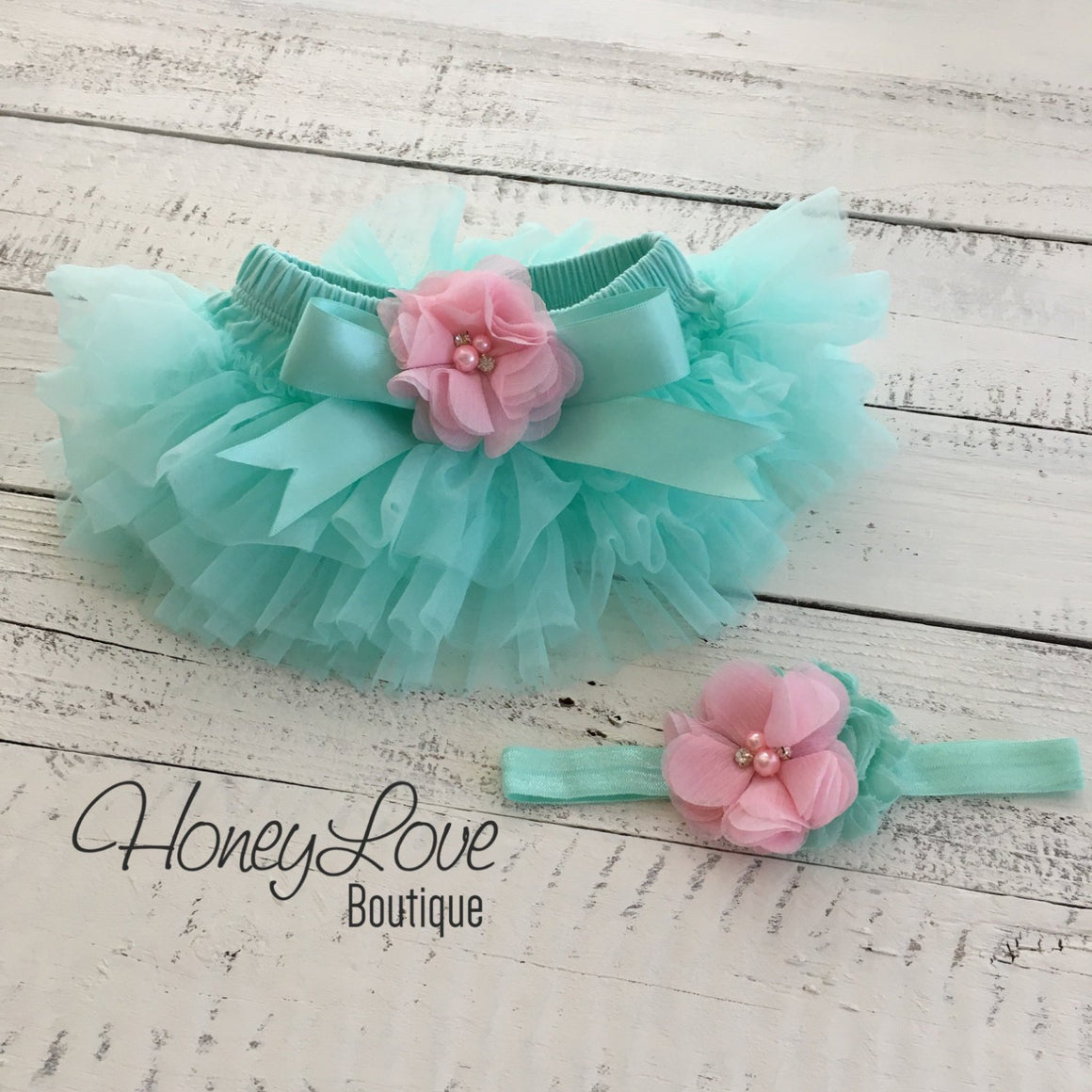 PERSONALIZED Name Outfit - Mint/Aqua and Silver Glitter - Light Pink flower embellished tutu skirt bloomers - HoneyLoveBoutique
