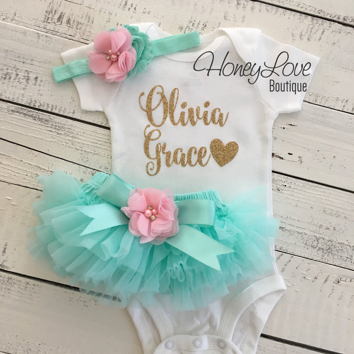 PERSONALIZED Mint/Aqua and Gold Glitter - Light Pink flower embellished tutu skirt bloomers - HoneyLoveBoutique