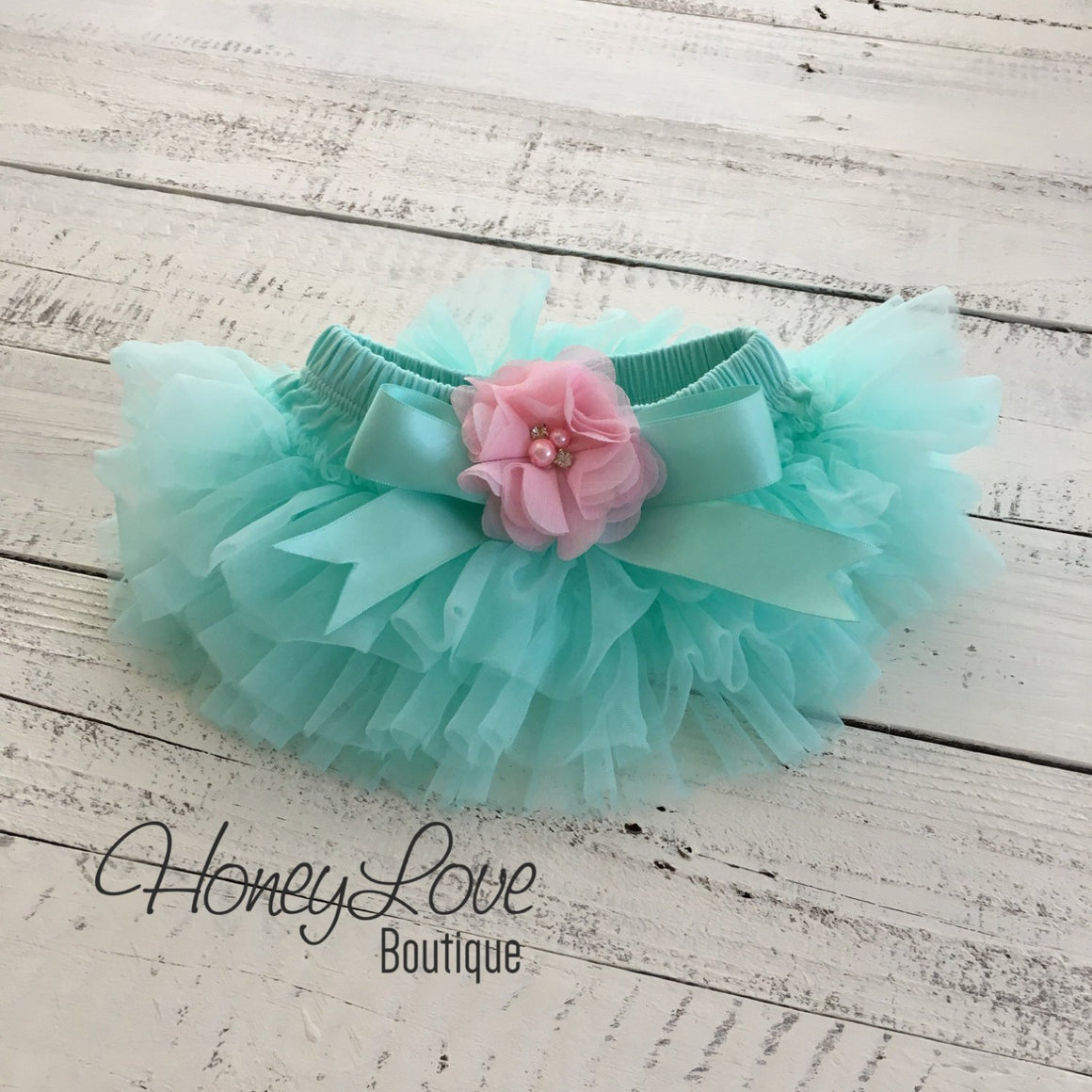 PERSONALIZED Mint/Aqua and Silver Glitter - Light Pink flower embellished tutu skirt bloomers - HoneyLoveBoutique