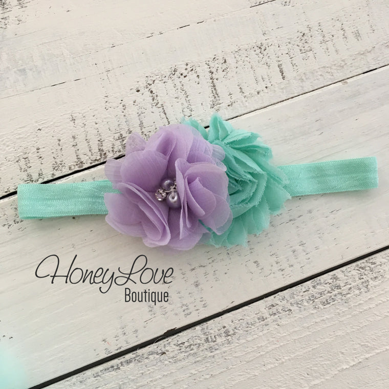 Mint/Aqua and Lavender Purple flower headband