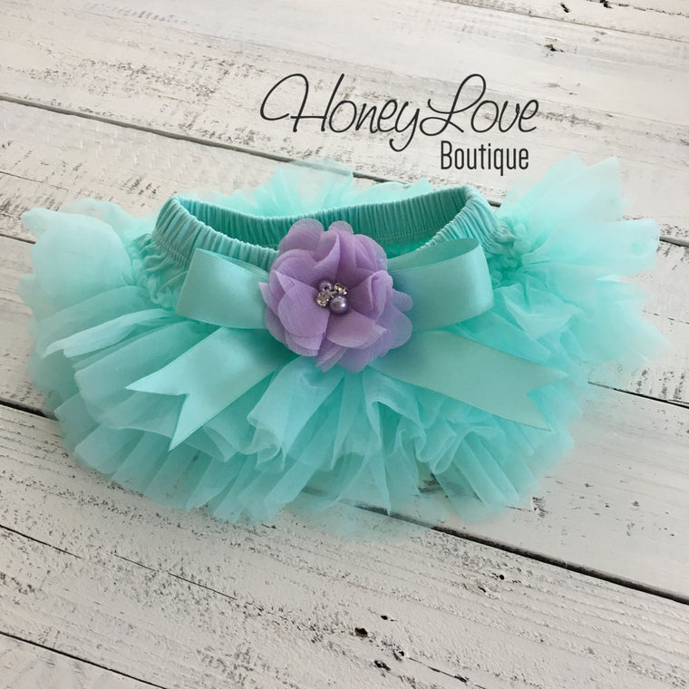 Mint/Aqua and Lavender Purple Embellished tutu skirt bloomers - HoneyLoveBoutique
