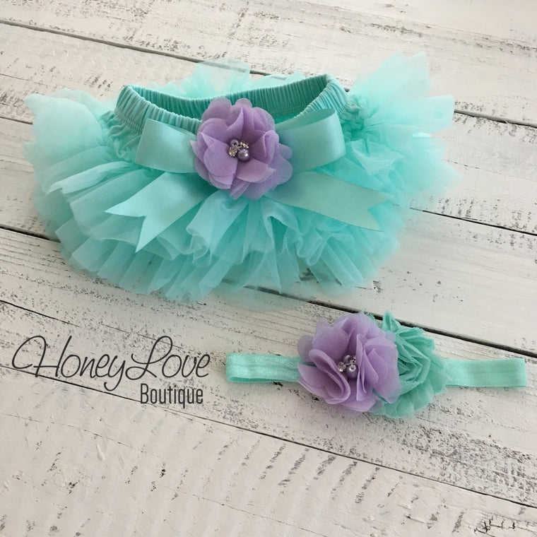 Mint/Aqua and Lavender Purple Embellished tutu skirt bloomers and headband - HoneyLoveBoutique