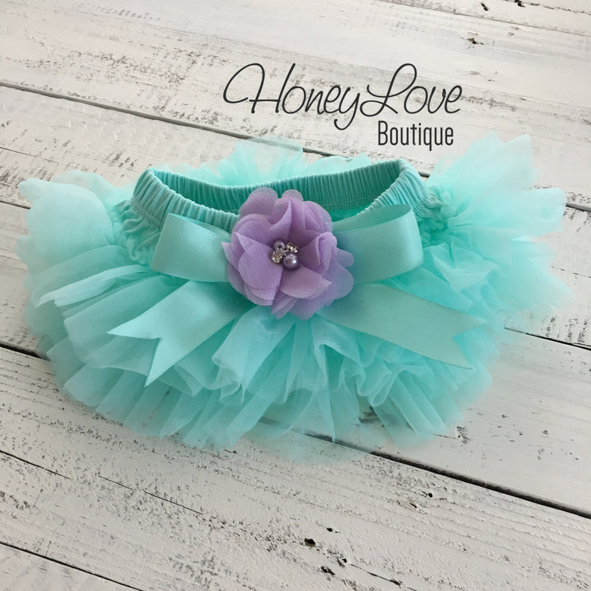 PERSONALIZED Mint/Aqua and Gold Glitter - Lavender Purple flower embellished tutu skirt bloomers