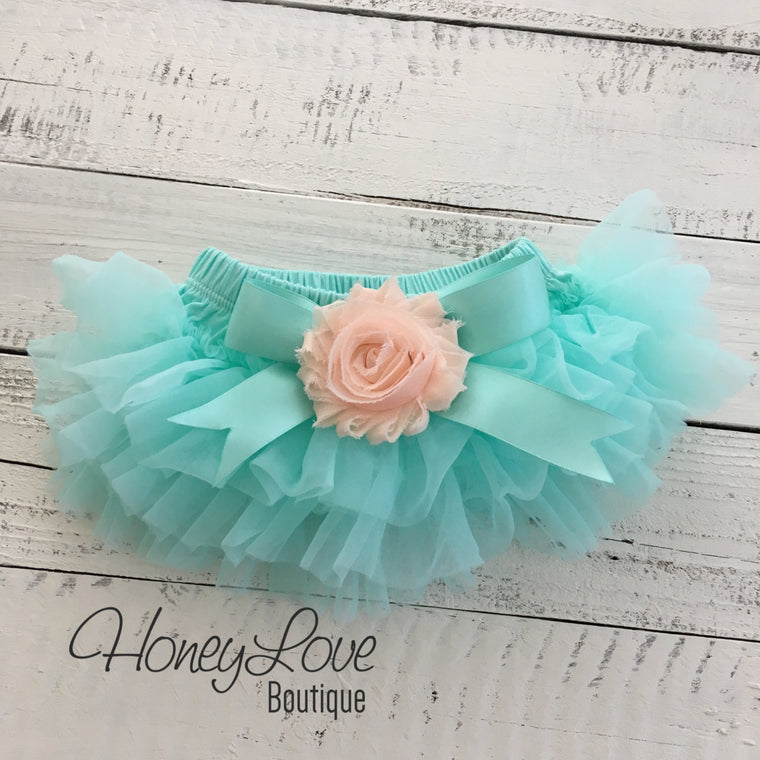 Mint/Aqua and Peach Embellished tutu skirt bloomers