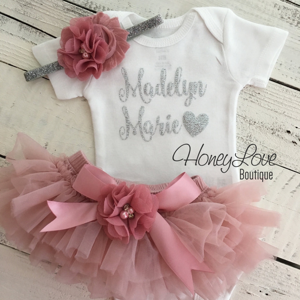 PERSONALIZED Name Outfit - Silver Glitter and Vintage Pink - embellished bloomers