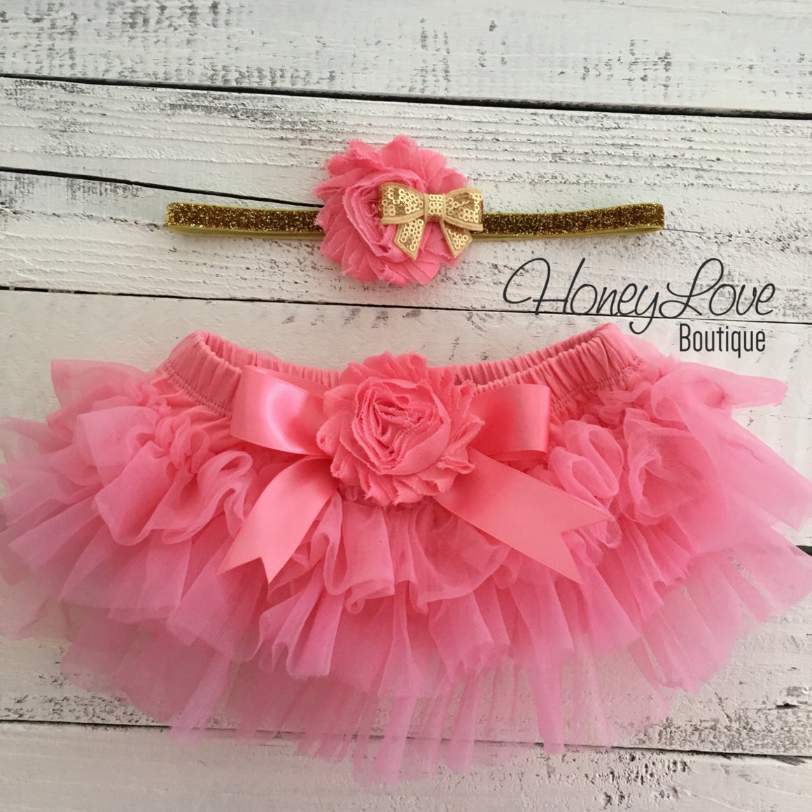 PERSONALIZED Name Outfit - Gold Glitter and Coral Pink - embellished tutu skirt bloomer - HoneyLoveBoutique