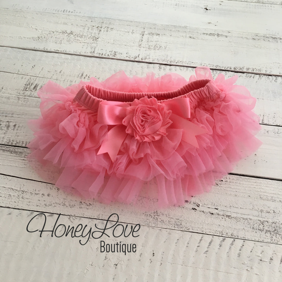 Coral Pink tutu skirt bloomers - embellished Coral pink shabby flower - HoneyLoveBoutique