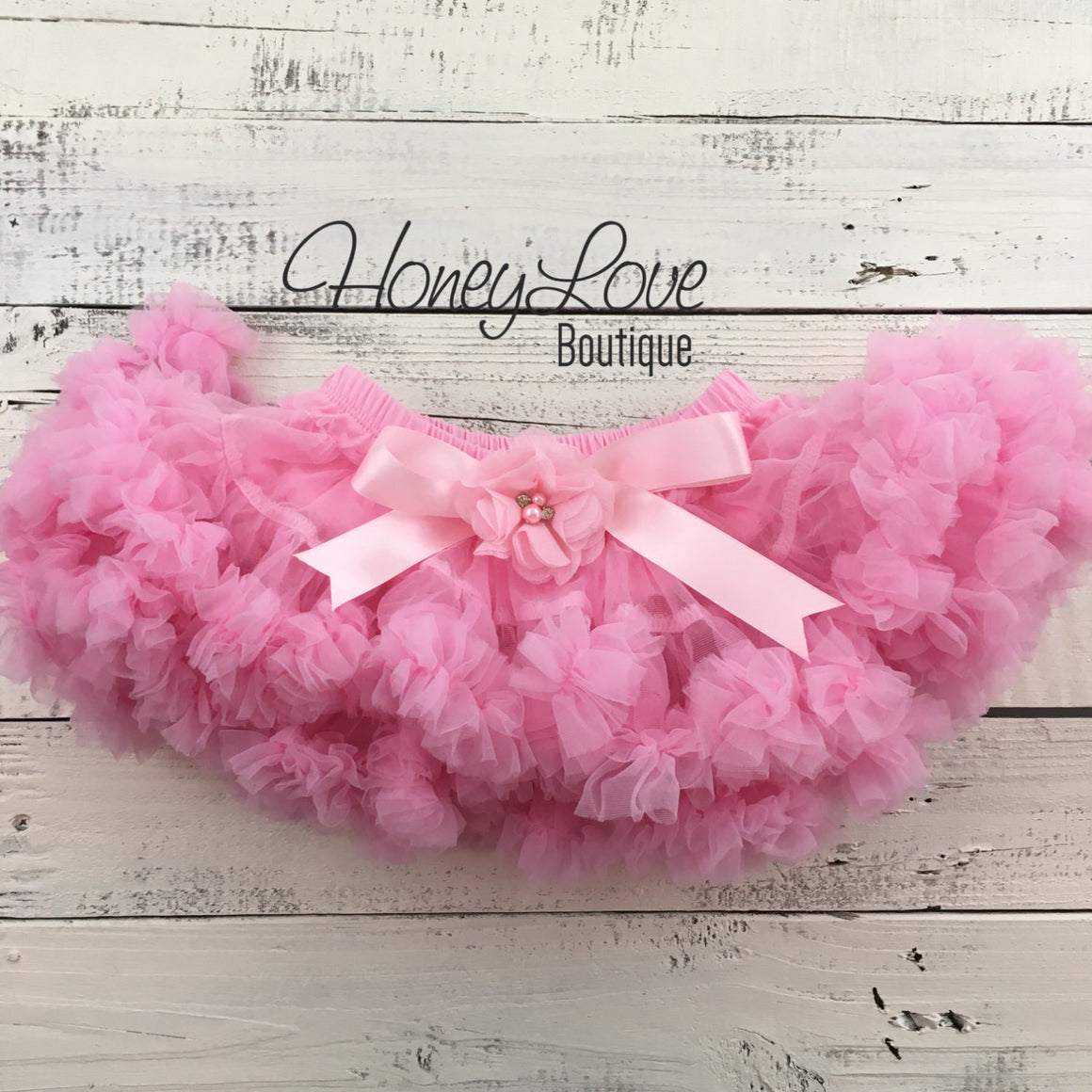 Light Pink Pettiskirt - embellished flower - HoneyLoveBoutique