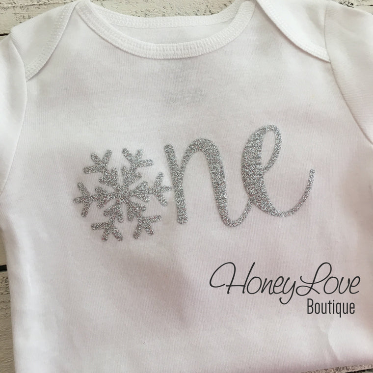 Snowflake Winter ONEderland - Silver Glitter - HoneyLoveBoutique