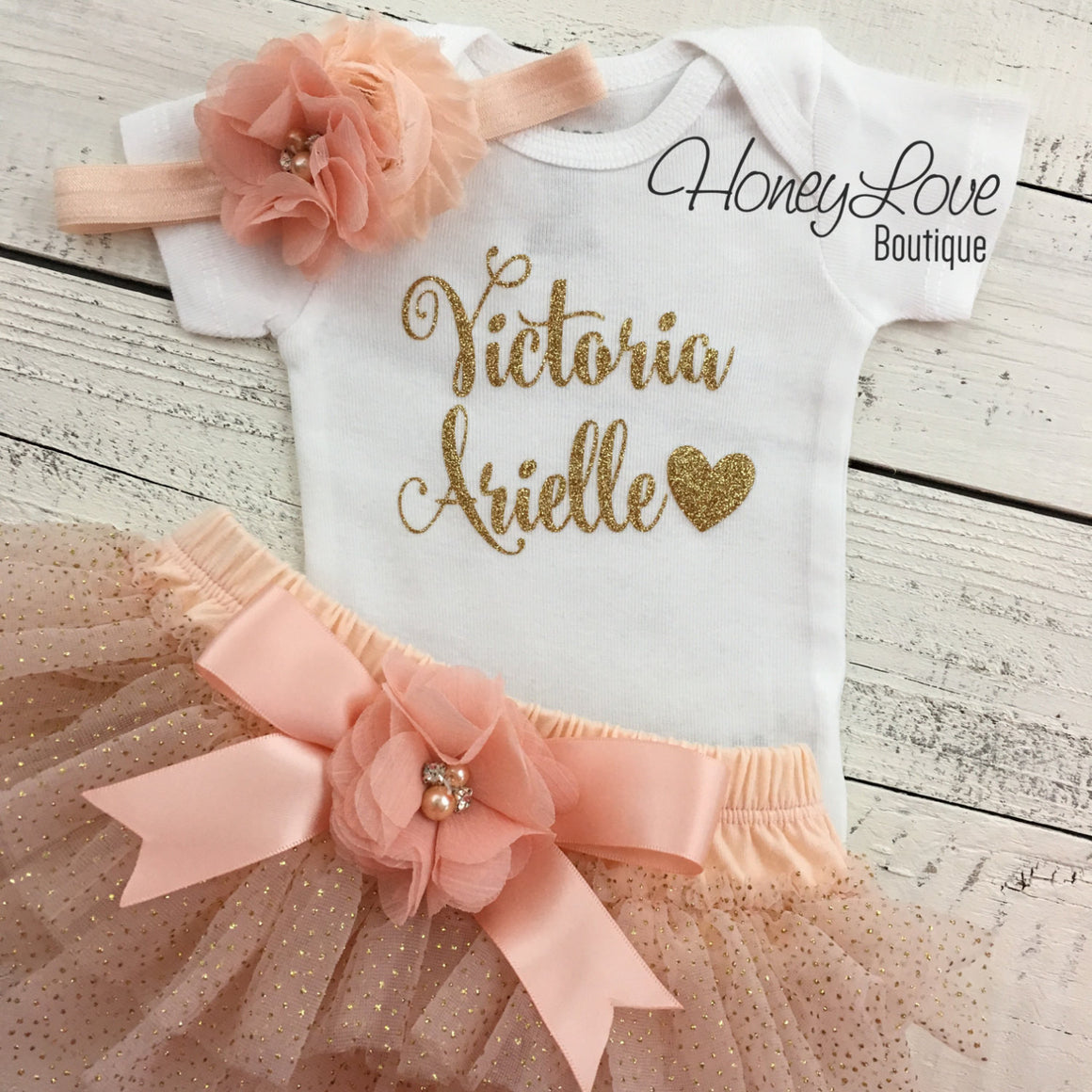 PERSONALIZED Name Outfit - Peach and Gold Glitter - embellished bloomer