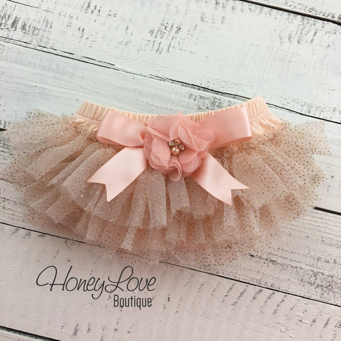 Peach with gold glitter tutu skirt bloomers - embellished tutu skirt bloomers - HoneyLoveBoutique