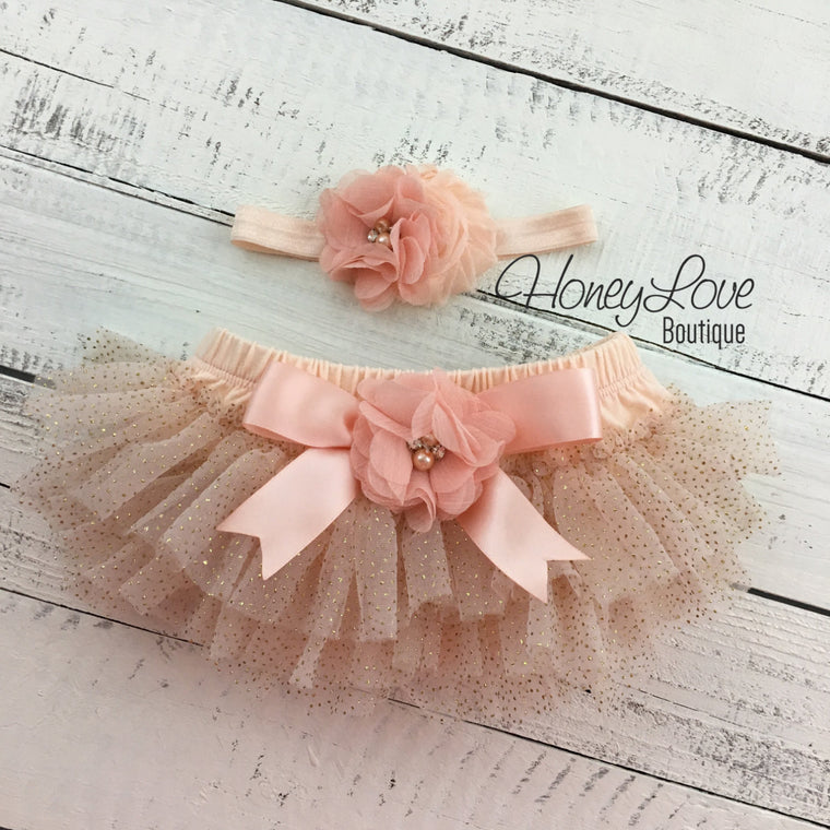 Peach and gold glitter tutu skirt bloomer with matching headband - embellished tutu skirt bloomers - HoneyLoveBoutique