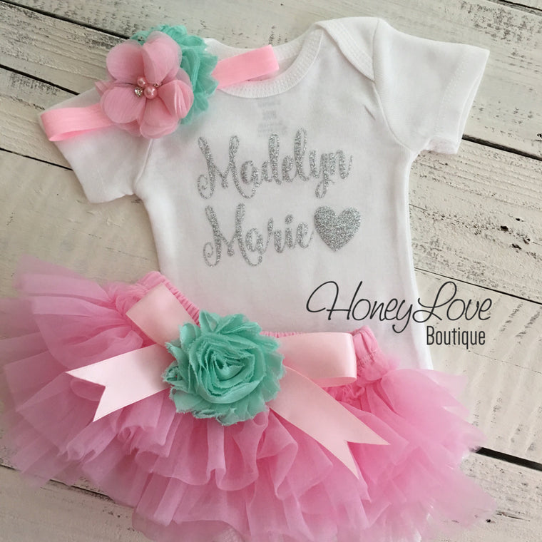 PERSONALIZED Light Pink and Silver Glitter - Mint/Aqua flower embellished tutu skirt bloomers