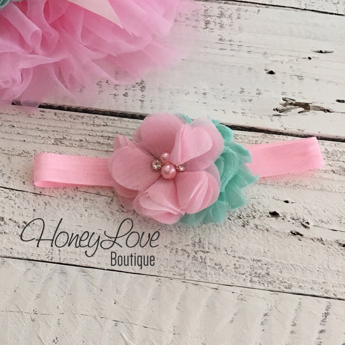 PERSONALIZED Light Pink and Silver Glitter - Mint/Aqua flower embellished tutu skirt bloomers - HoneyLoveBoutique