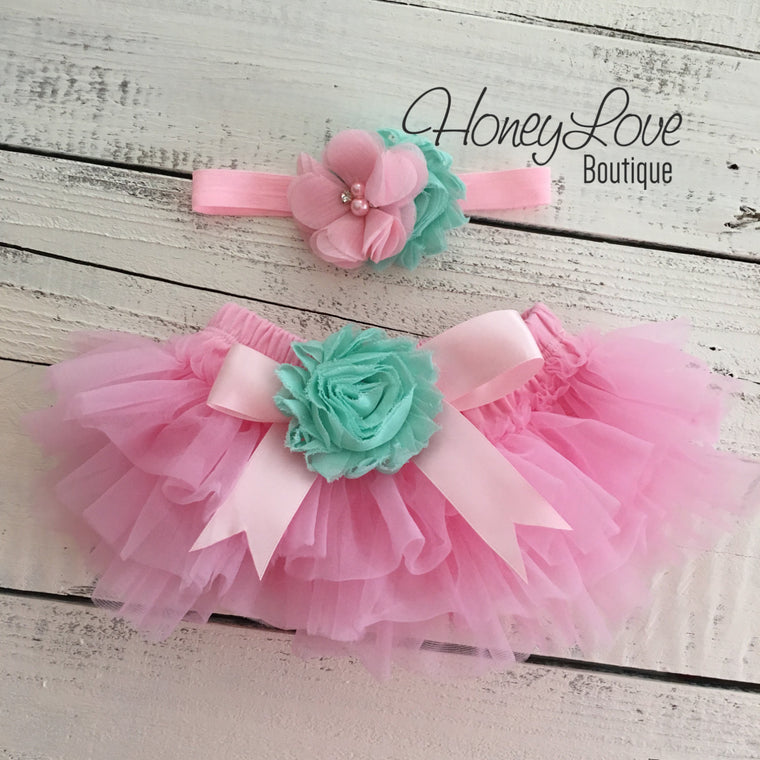 Light Pink and Mint/Aqua Embellished tutu skirt bloomers and headband