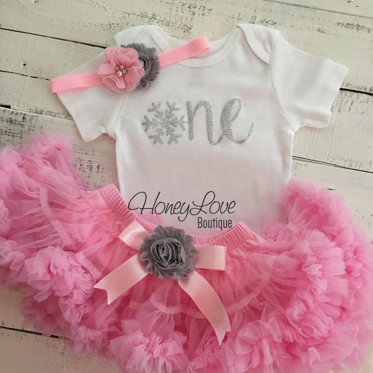 Winter ONEderland 1st Birthday outfit - Light Pink, Gray and Silver glitter - HoneyLoveBoutique