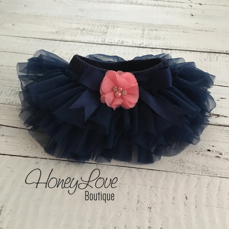Navy Blue tutu skirt bloomers - embellished Coral pink rhinestone/pearl flower - HoneyLoveBoutique