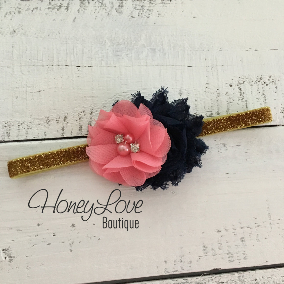Coral and Navy - Silver or Gold glitter headband - HoneyLoveBoutique