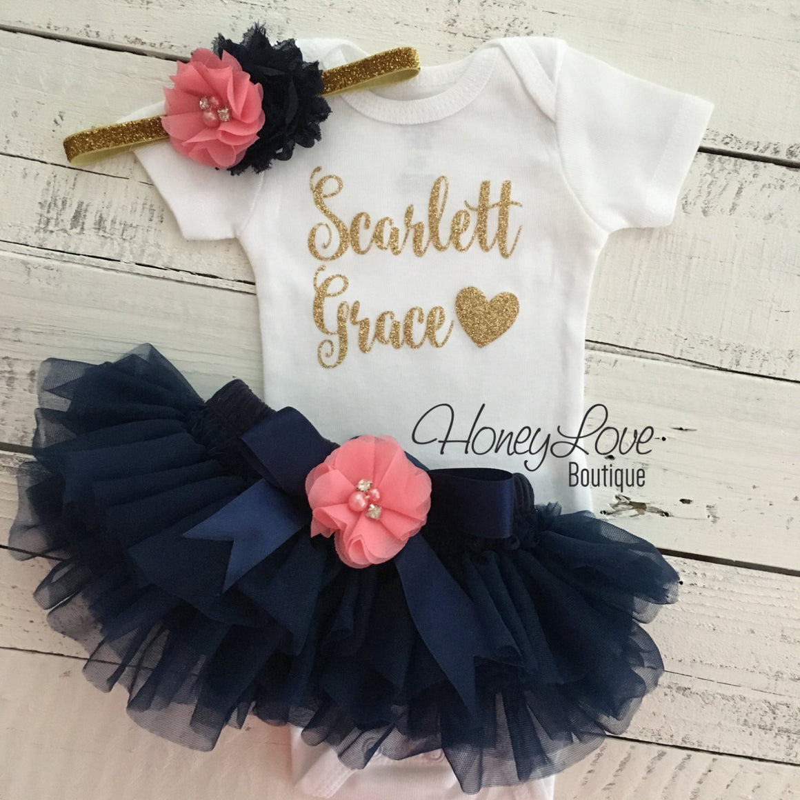 PERSONALIZED Name Outfit -  Navy Blue and Gold Glitter - Coral Pink rhinestone/pearl flower embellished tutu skirt bloomers - HoneyLoveBoutique