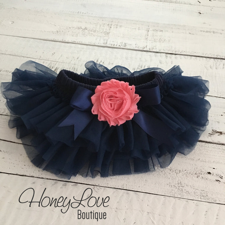 Navy Blue tutu skirt bloomers - embellished Coral shabby flower - HoneyLoveBoutique