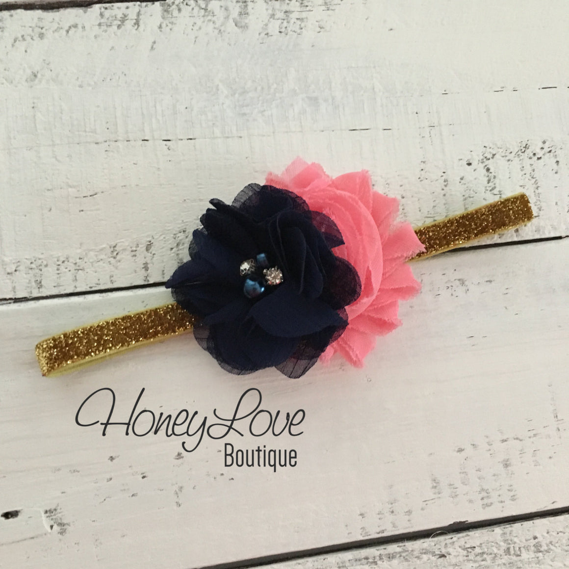 Navy Blue tutu skirt bloomers - embellished Coral shabby flower - with matching headband - HoneyLoveBoutique