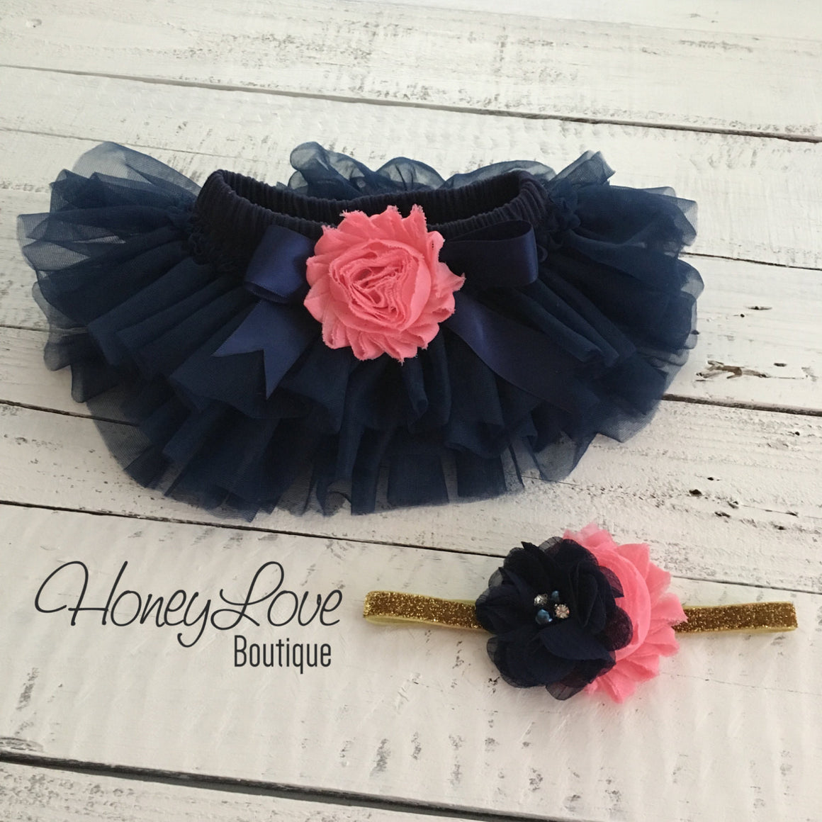 PERSONALIZED Navy Blue and Gold Glitter - Coral pink shabby flower embellished tutu skirt bloomers