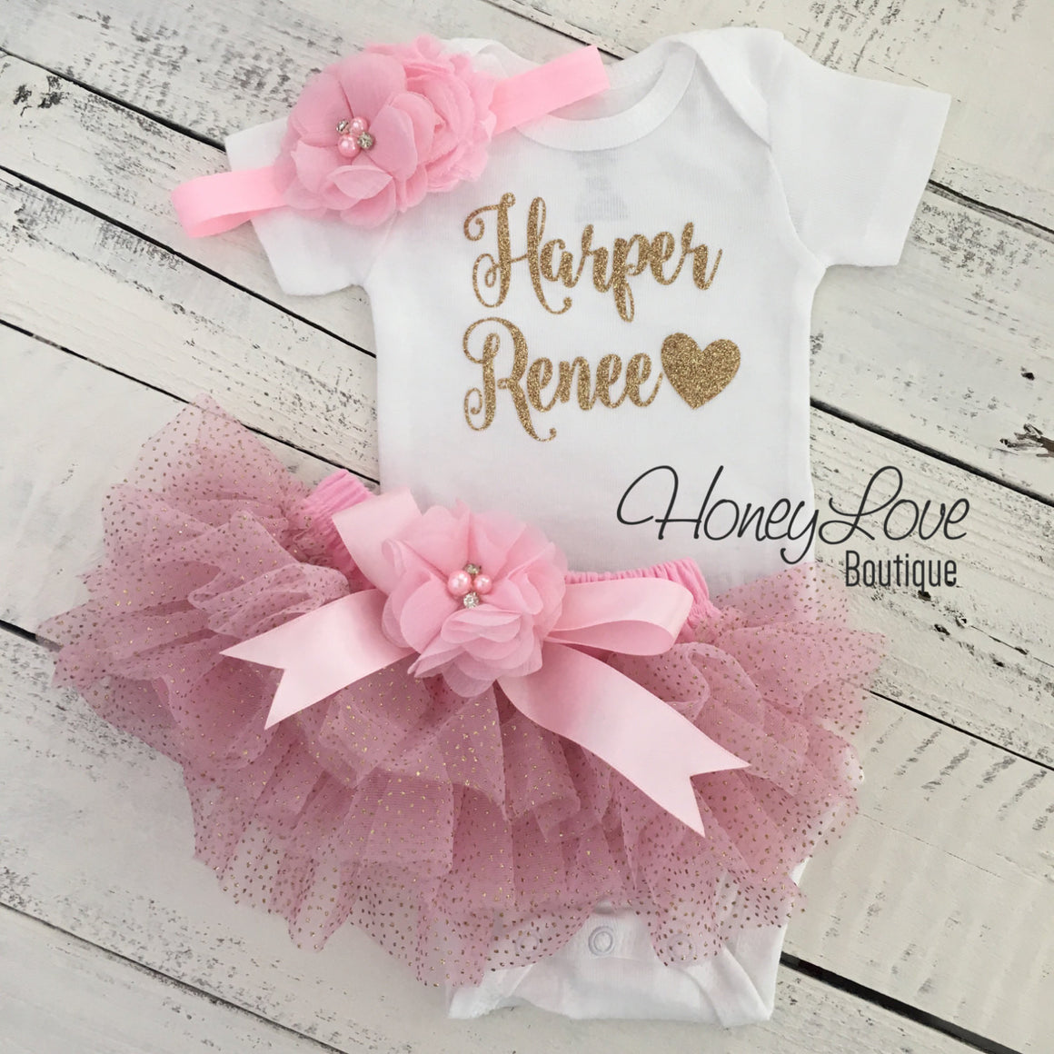 PERSONALIZED Name Outfit - Light Pink and Gold Glitter - embellished tutu skirt bloomers