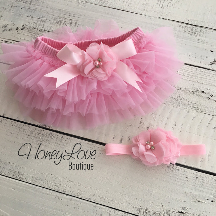 Light Pink embellished tutu skirt bloomers and matching headband - HoneyLoveBoutique