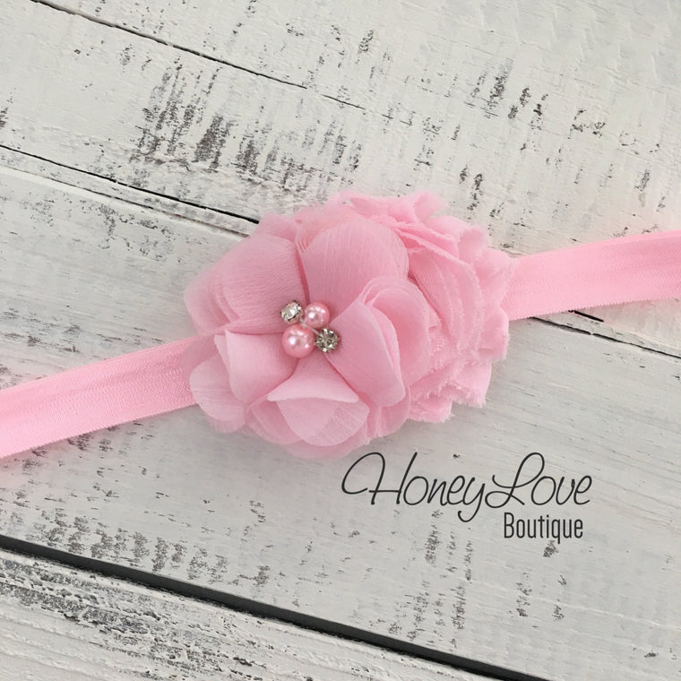 Light Pink shabby chiffon flower rhinestone pearl headband - HoneyLoveBoutique