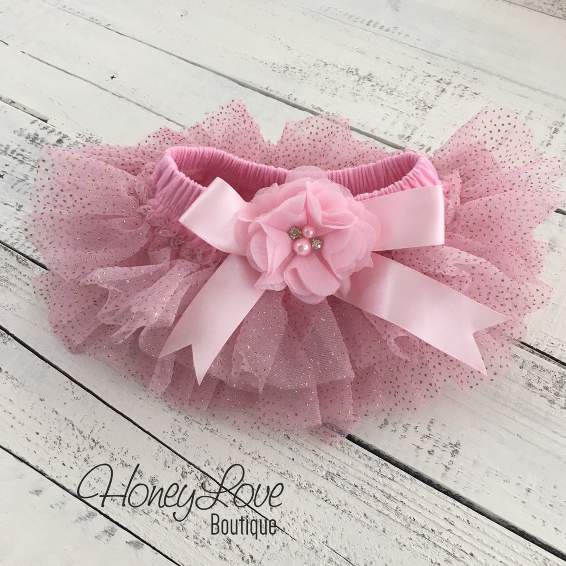 Light Pink with gold glitter embellished tutu skirt bloomers and matching headband - HoneyLoveBoutique