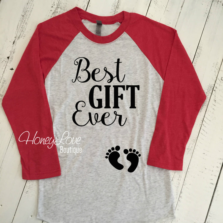 Best GIFT Ever Christmas Pregnancy Announcement, maternity preggo preggers pregnant shirt expecting baby bump feet baseball raglan style tee - HoneyLoveBoutique