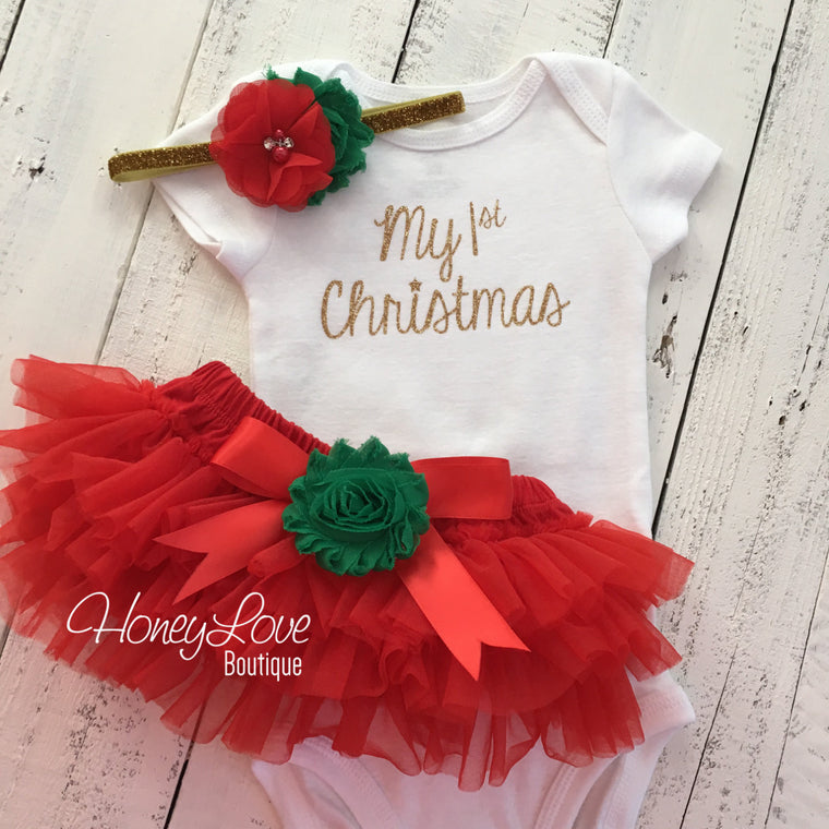 My 1st Christmas Outfit -  Gold/Silver -  Red, Green and Glitter - Embellished tutu skirt bloomers - HoneyLoveBoutique