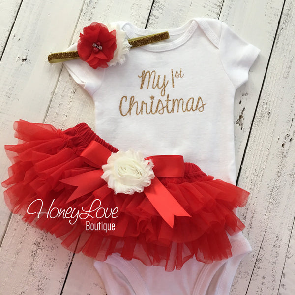 4888f8ddf My 1st Christmas Outfit - Gold/Silver - Red, Ivory and Glitter - Embel -  HoneyLoveBoutique