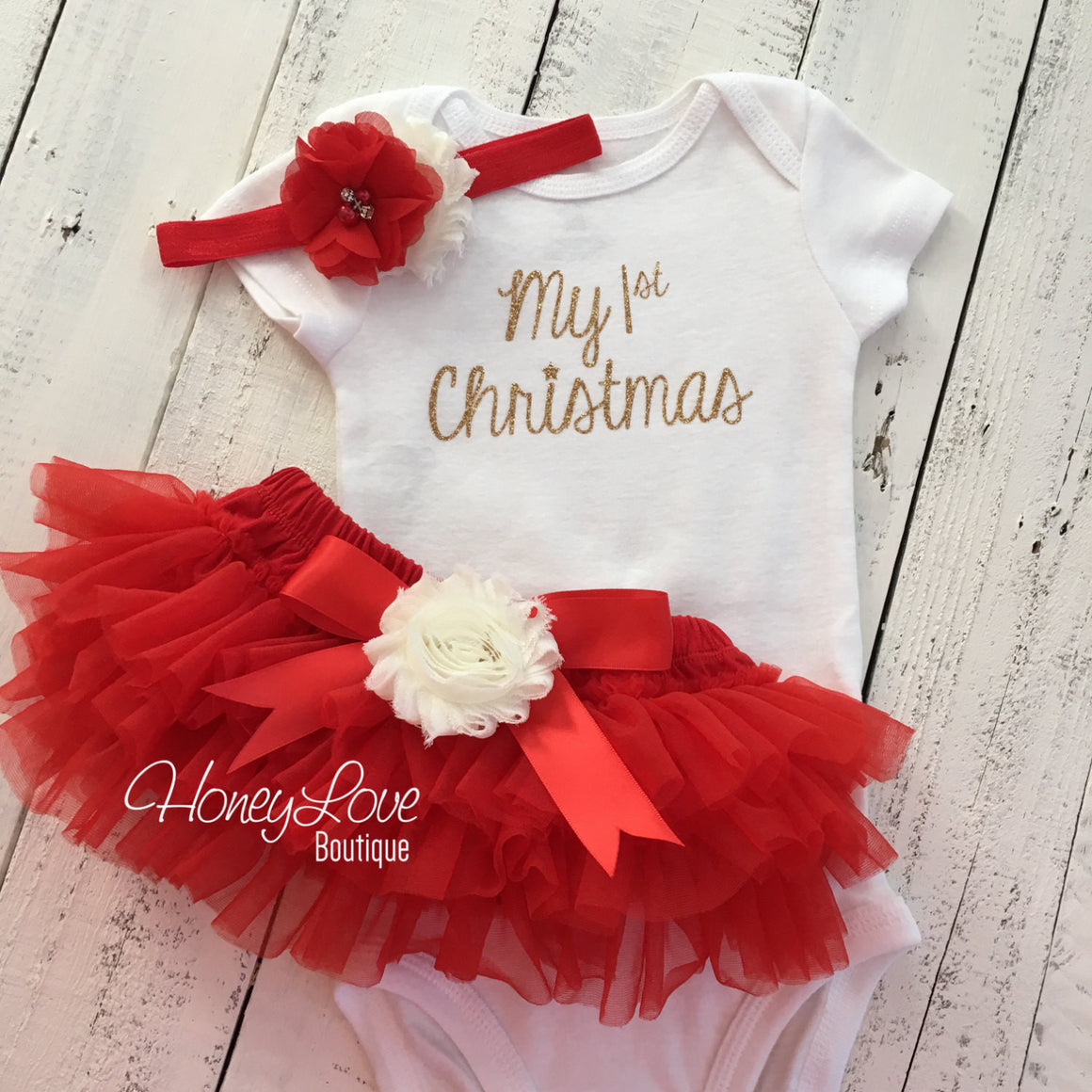 My 1st Christmas Outfit -  Gold/Silver -  Red and Ivory - Embellished tutu skirt bloomers - HoneyLoveBoutique