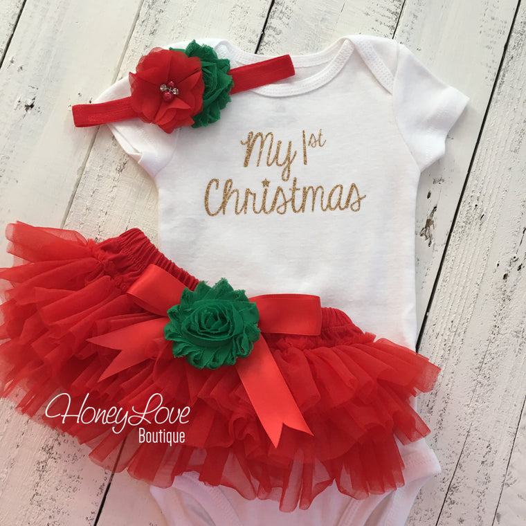 My 1st Christmas Outfit -  Gold/Silver -  Red and Green - Embellished tutu skirt bloomers - HoneyLoveBoutique