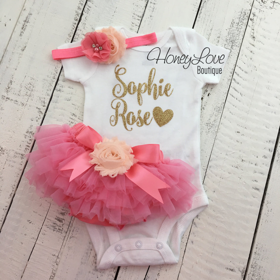 PERSONALIZED Coral Pink and Gold Glitter - Peach flower embellished tutu skirt bloomers - HoneyLoveBoutique