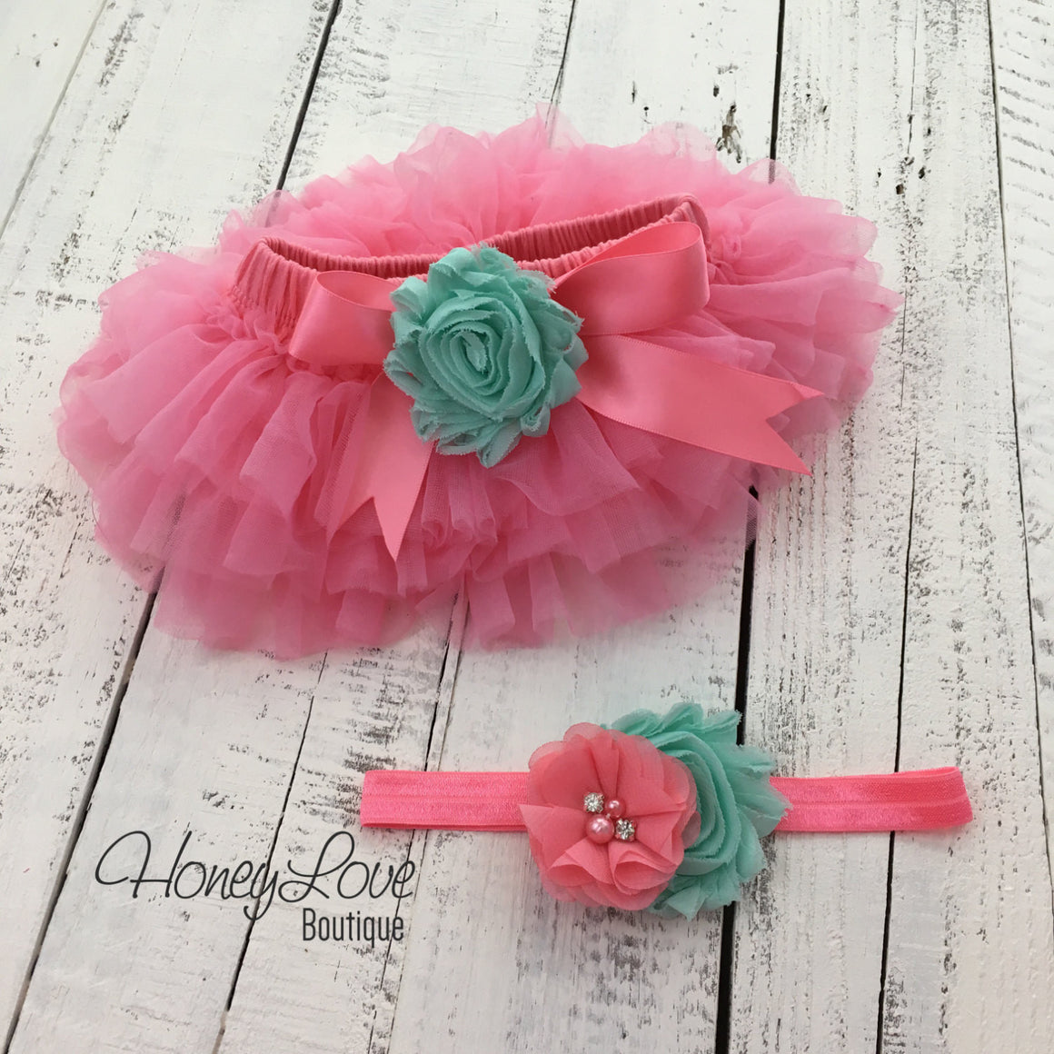 PERSONALIZED Name Outfit - Coral Pink and Gold Glitter - Mint/Aqua flower embellished tutu skirt bloomers - HoneyLoveBoutique