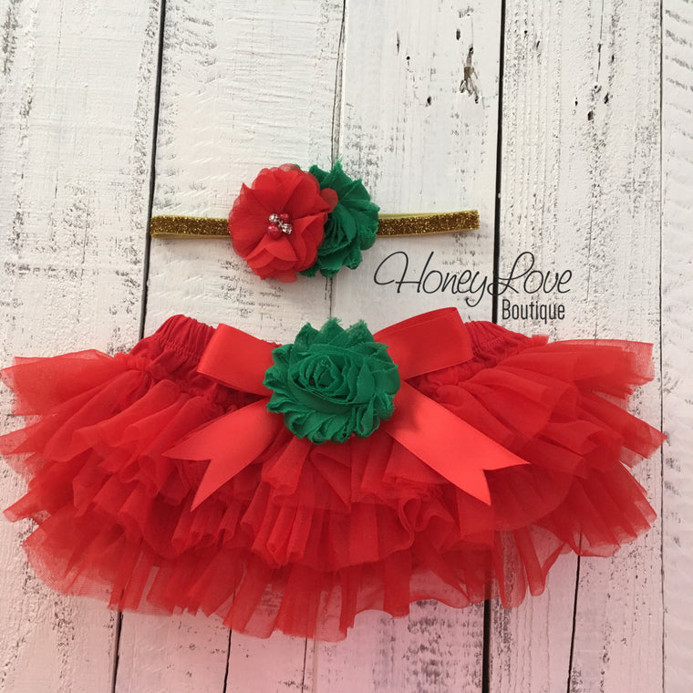 Red/Green Embellished tutu skirt bloomers and Gold/Silver glitter headband - HoneyLoveBoutique