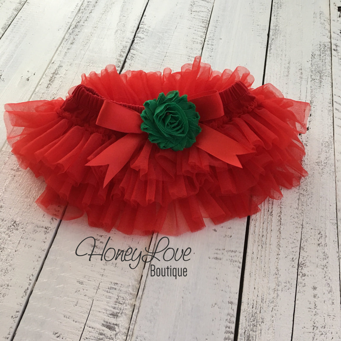 Red/Green Embellished tutu skirt bloomers and Gold/Silver glitter headband