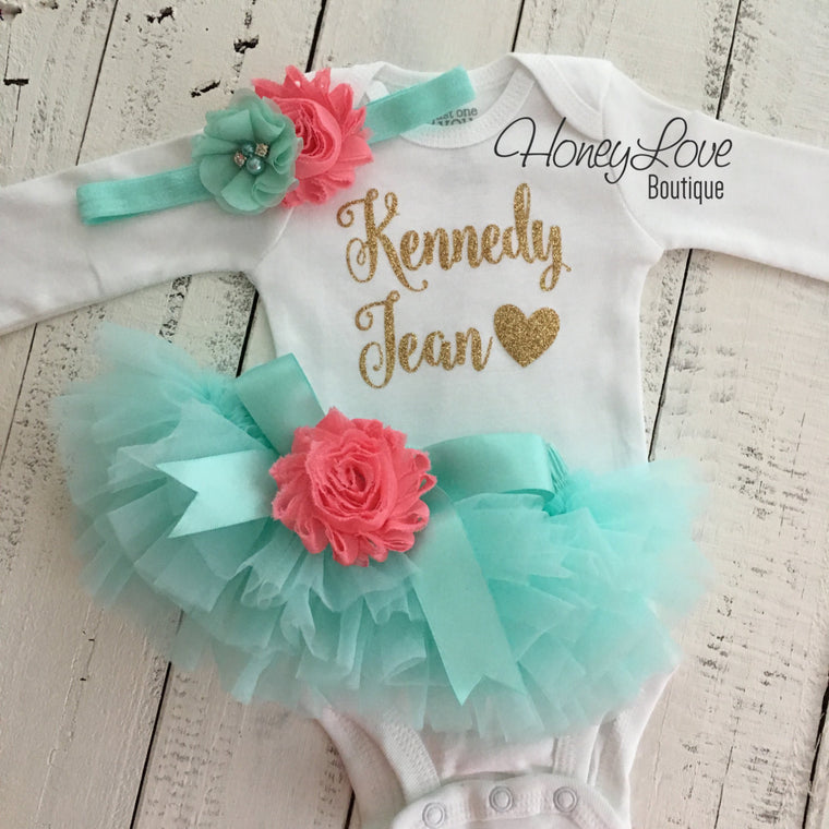PERSONALIZED Mint/Aqua and Gold Glitter - Coral flower embellished tutu skirt bloomers