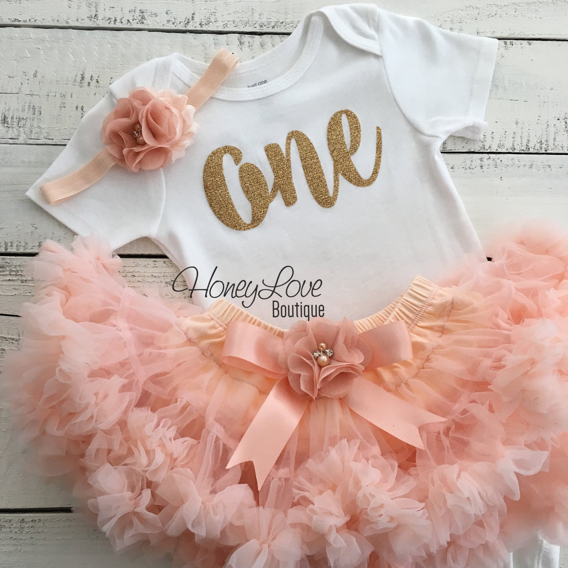 One - Birthday Outfit - Gold glitter and Peach - embellished pettiskirt - HoneyLoveBoutique